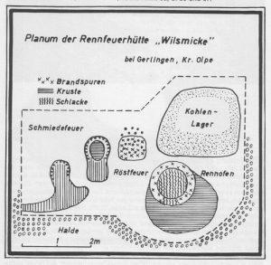 """Plan der Rennfeuerhütte """"Wilsmicke"""" bei Gerlingen, Kreis Olpe"""
